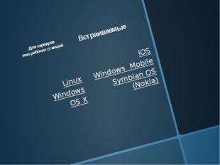 Для серверов или рабочих станций Linux Windows OS X Встраиваемые iOS Window