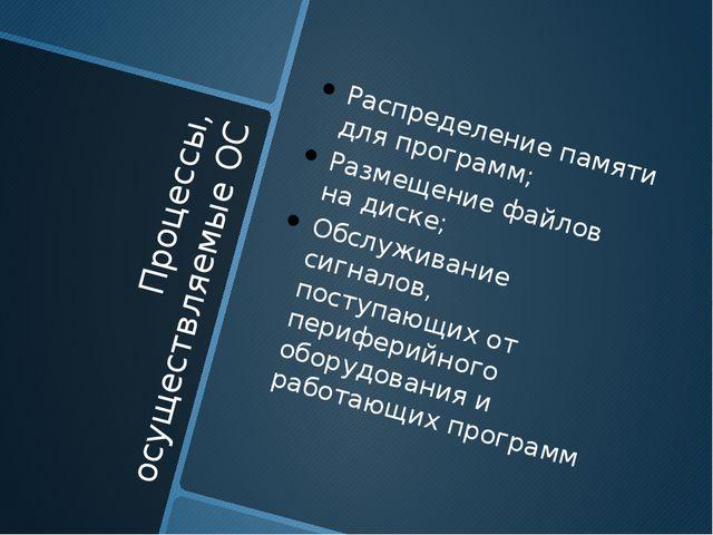 Процессы, осуществляемые ОС Распределение памяти для программ; Размещение фай...