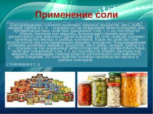 Применение соли Применение поваренной соли Соль - основное сырье для многих о