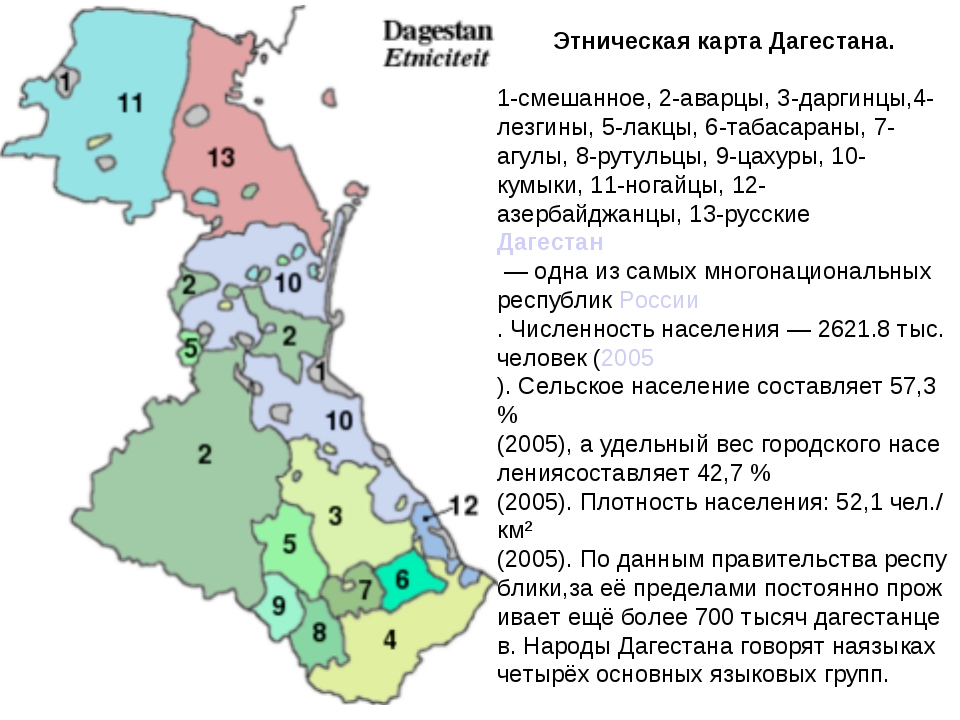 ЭтническаякартаДагестана. 1-смешанное,2-аварцы,3-даргинцы,4-лезгины,5-ла...