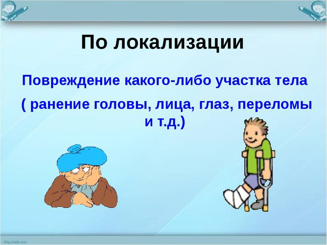 По локализации Повреждение какого-либо участка тела ( ранение головы, лица, г...