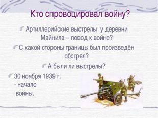 Кто спровоцировал войну? Артиллерийские выстрелы у деревни Майнила – повод к