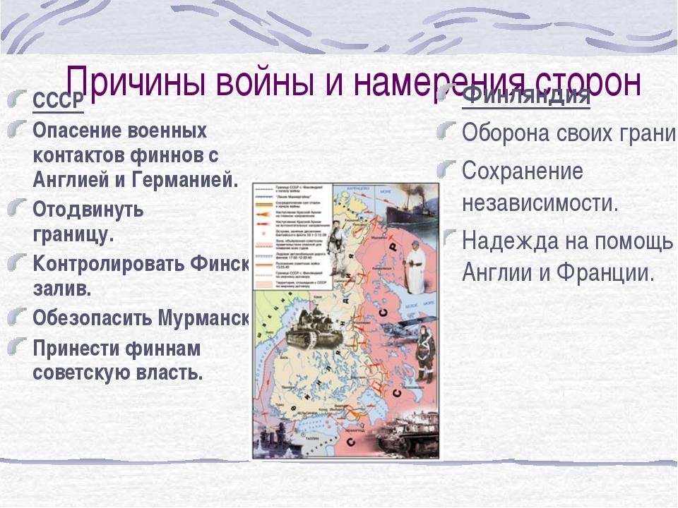 Причины войны и намерения сторон CCСР Опасение военных контактов финнов с Анг...