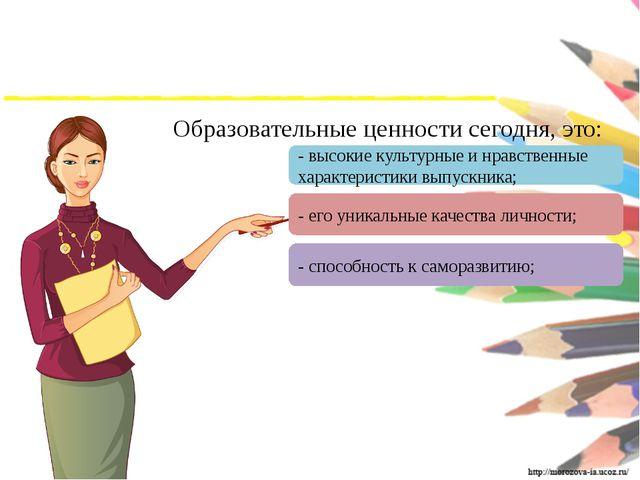 Образовательные ценности сегодня, это: - способность к саморазвитию; - его...