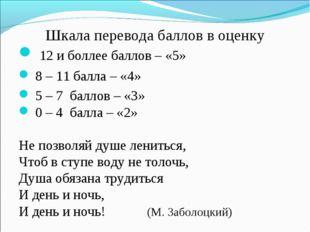 Шкала перевода баллов в оценку 12 и боллее баллов – «5» 8 – 11 балла – «4» 5