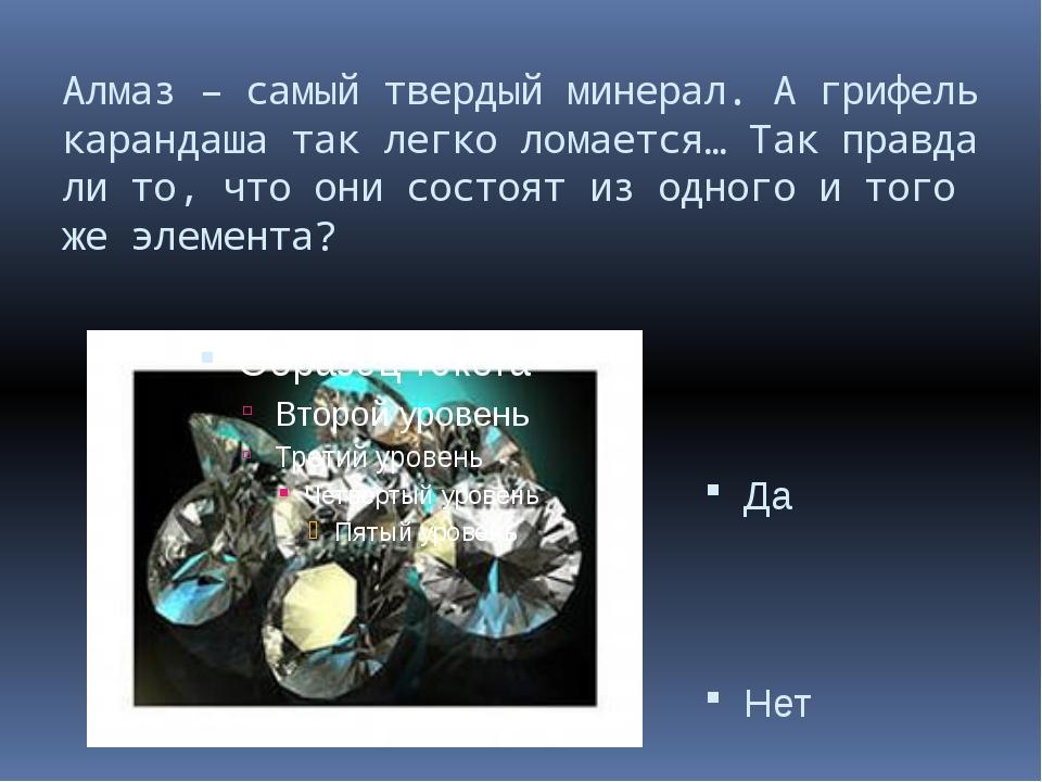 Алмаз – самый твердый минерал. А грифель карандаша так легко ломается… Так пр...