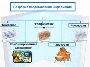 По форме представления информация Текстовая Числовая Графическая Звуковая Ком