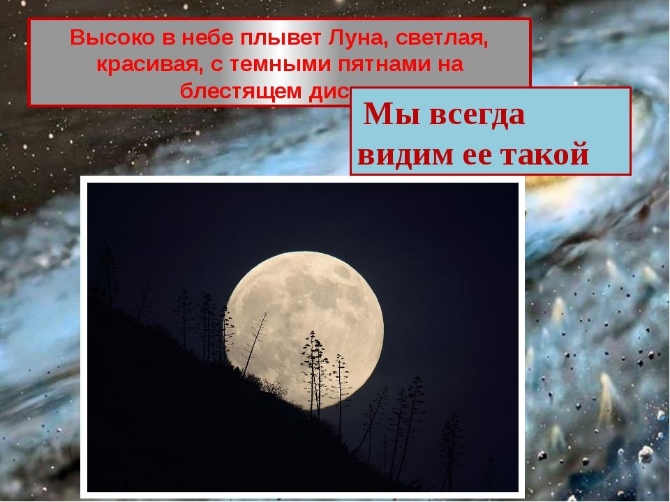 Высоко в небе плывет Луна, светлая, красивая, с темными пятнами на блестящем...