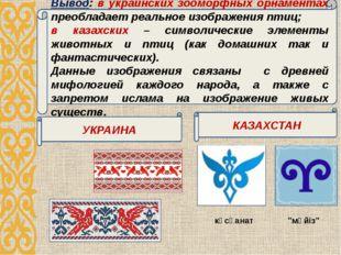 Вывод: в украинских зооморфных орнаментах преобладает реальное изображения пт