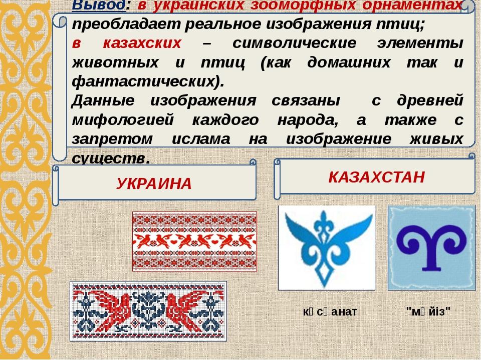 Вывод: в украинских зооморфных орнаментах преобладает реальное изображения пт...