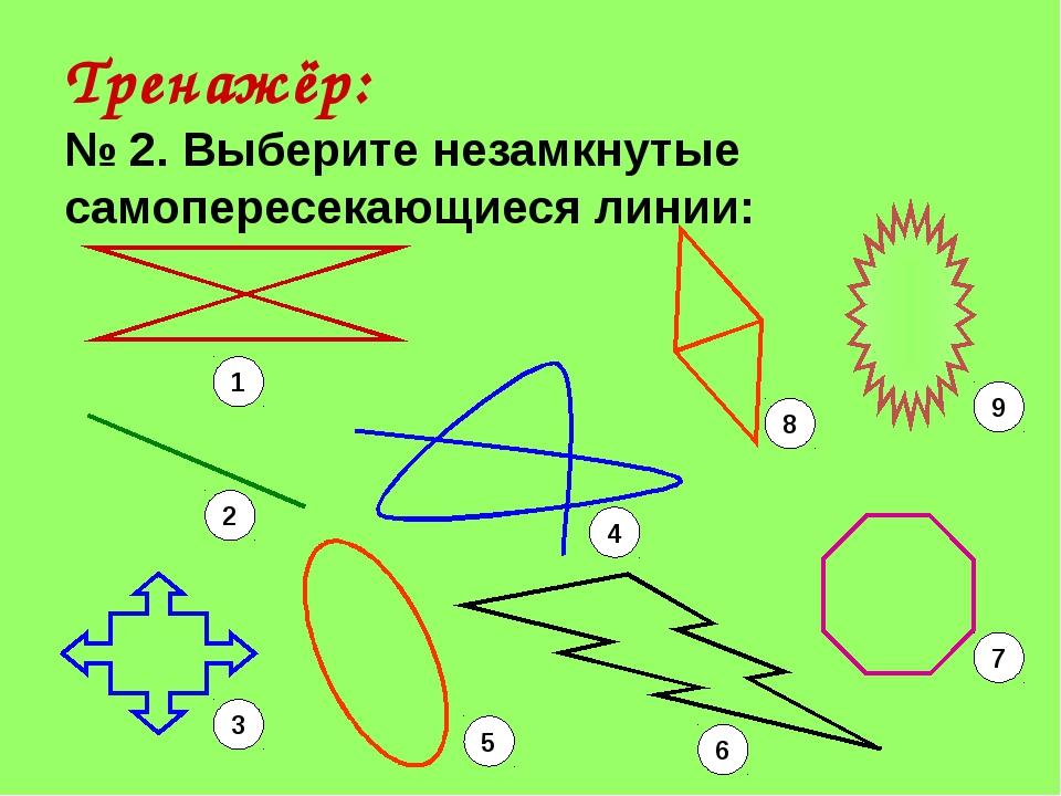 Тренажёр: № 2. Выберите незамкнутые самопересекающиеся линии: 1 2 3 5 6 7 4 8 9