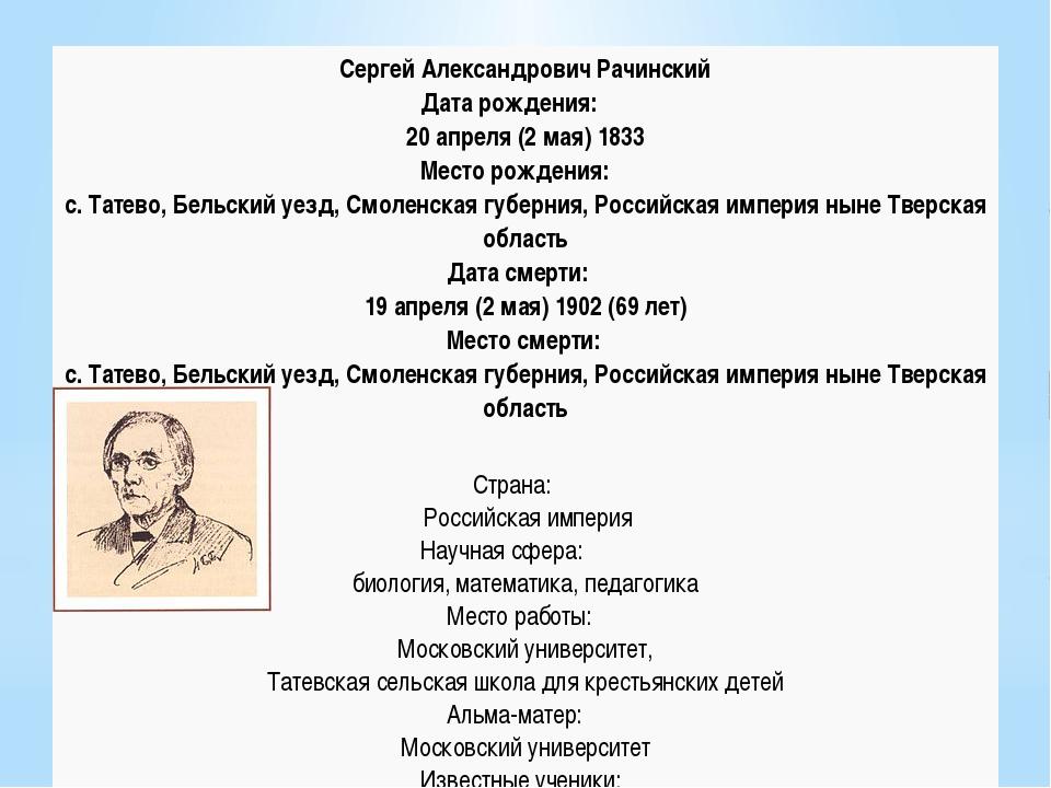 Сергей АлександровичРачинский Дата рождения: 20 апреля (2 мая) 1833 Место ро...