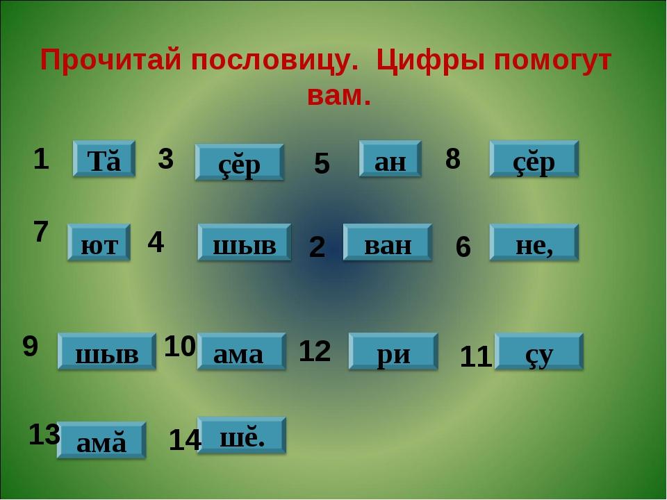 Прочитай пословицу. Цифры помогут вам. 1 3 5 8 7 4 2 6 9 10 12 11 13 14