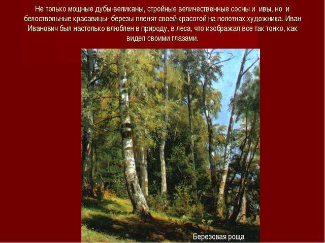 Не только мощные дубы-великаны, стройные величественные сосны и ивы, но и бел...