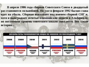 В апреле 1986 года сборная Советского Союза в двадцатый раз становится сильн