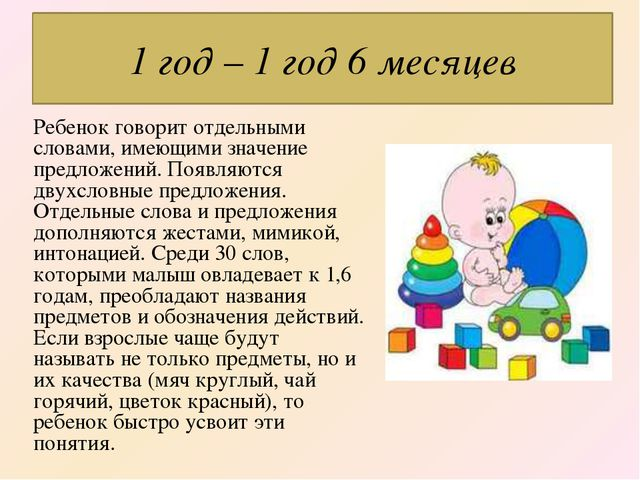Ребенок говорит отдельными словами, имеющими значение предложений. Появляются...