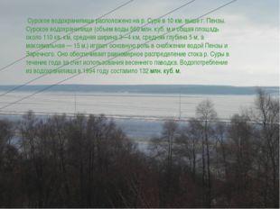 Сурское водохранилище расположено на р. Суре в 10 км. выше г. Пензы. Сурское