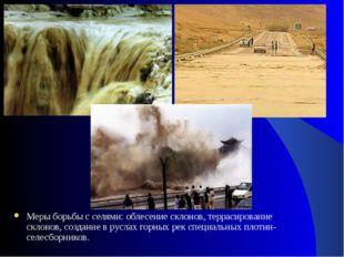 Меры борьбы с селями: облесение склонов, террасирование склонов, создание в р