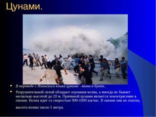 Цунами. В переводе с Японского языка цунами - волна в бухте. Разрушительной с