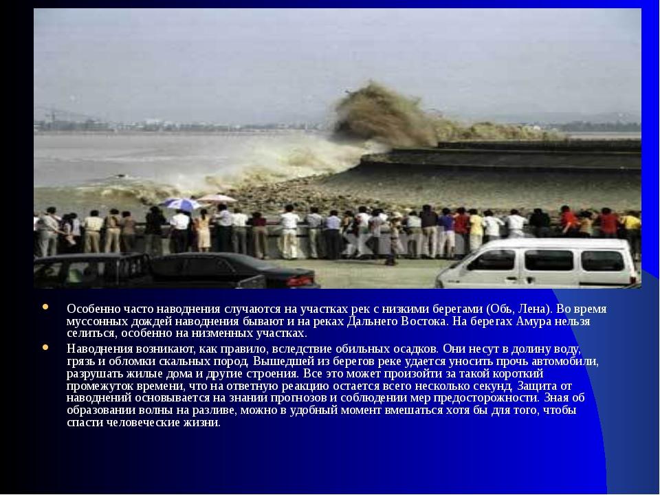 Особенно часто наводнения случаются на участках рек с низкими берегами (Обь,...