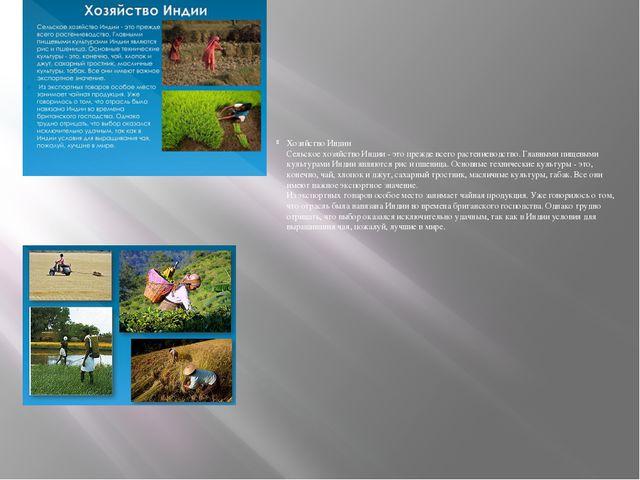Хозяйство Индии Сельское хозяйство Индии - это прежде всего растениеводство....