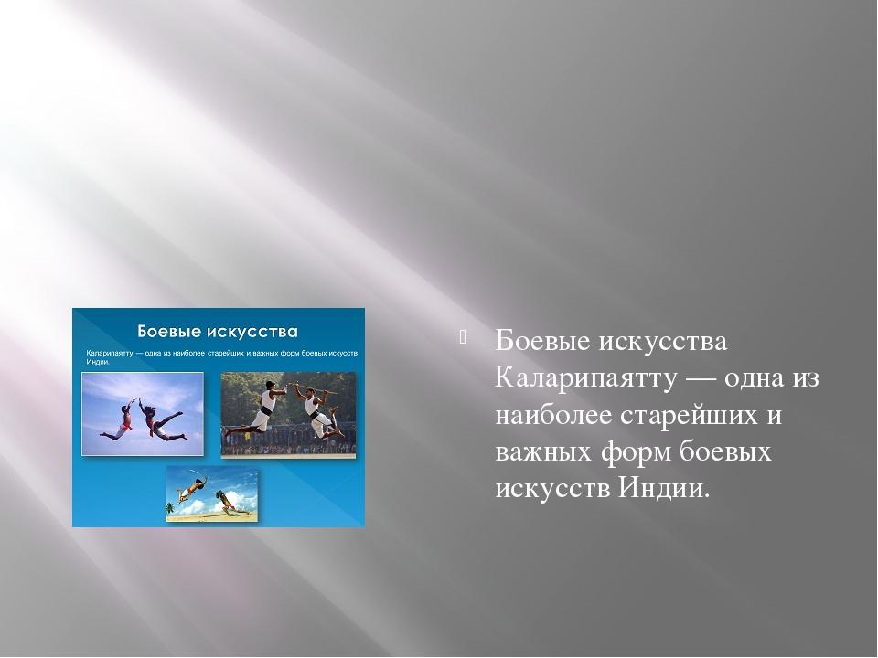 Боевые искусства Каларипаятту — одна из наиболее старейших и важных форм бое...
