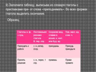 9) Заполните таблицу, выписыва из словаря глаголы с приставками при- от слова