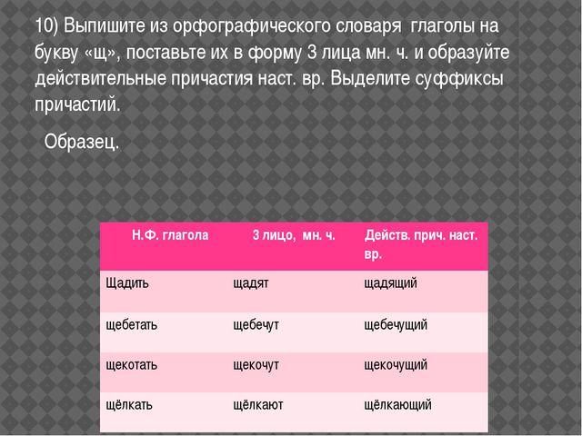 10) Выпишите из орфографического словаря глаголы на букву «щ», поставьте их в...