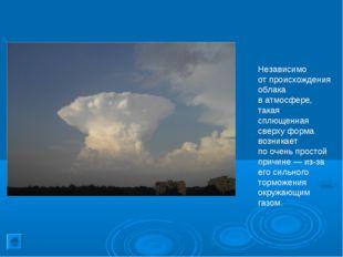 Независимо отпроисхождения облака ватмосфере, такая сплющенная сверху форма