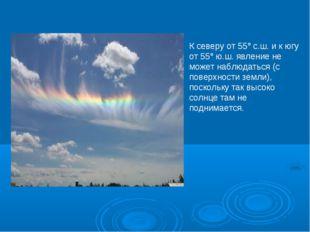 К северу от 55°с.ш. и к югу от 55°ю.ш. явление не может наблюдаться (с пове