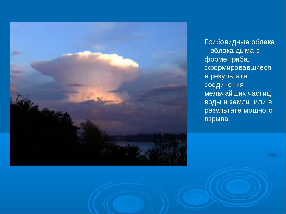 Грибовидные облака – облака дыма в форме гриба, сформировавшиеся в результате...