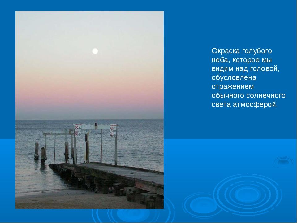 Окраска голубого неба, которое мы видим над головой, обусловлена отражением о...