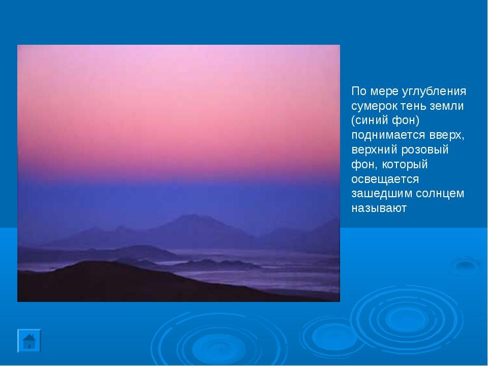 По мере углубления сумерок тень земли (синий фон) поднимается вверх, верхний...