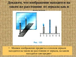 Докажем, что изображение находится на таком же расстоянии от зеркала как и пр