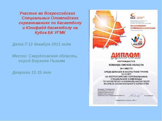 Участие во Всероссийских Специальных Олимпийских соревнованиях по баскетболу...