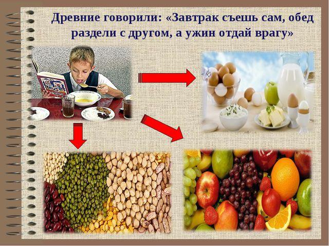 Древние говорили: «Завтрак съешь сам, обед раздели с другом, а ужин отдай вра...