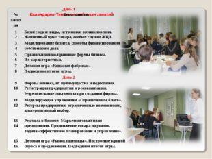 Календарно-Тематический план занятий День 1 № занятияТема занятия 1 2Бизн