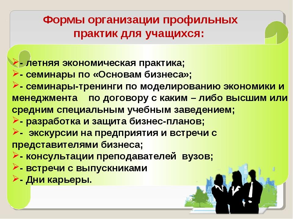 Формы организации профильных практик для учащихся: - летняя экономическая пра...
