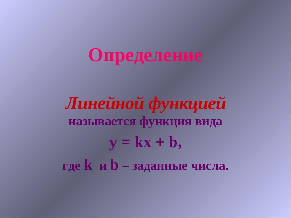 Определение Линейной функцией называется функция вида y = kx + b, где k и b –...
