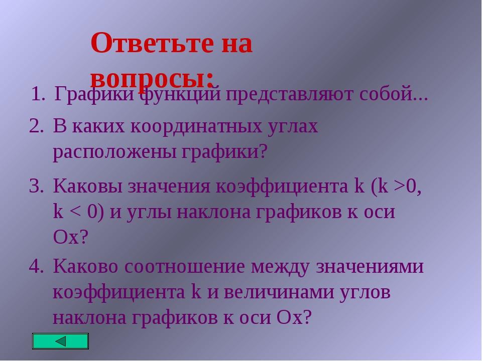 Графики функций представляют собой... Ответьте на вопросы: В каких координатн...