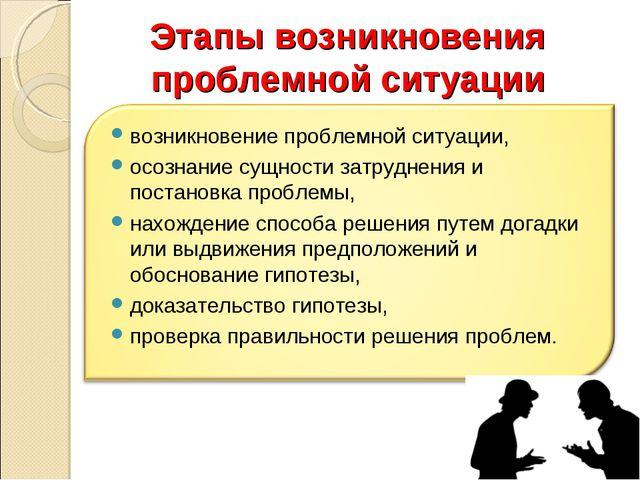 Этапы возникновения проблемной ситуации
