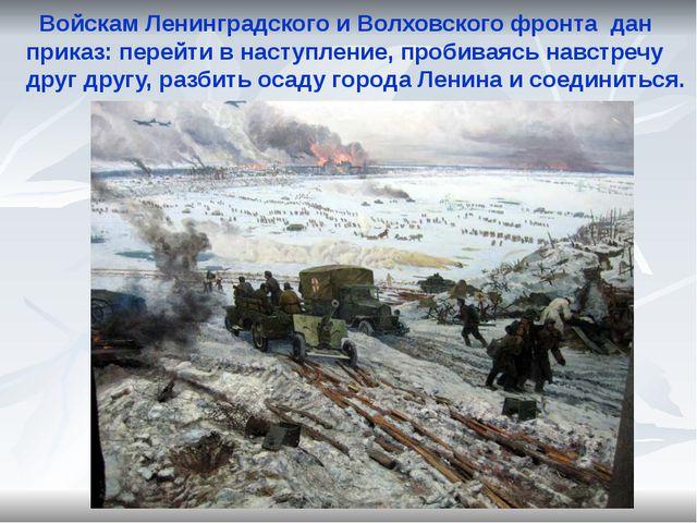 Войскам Ленинградского и Волховского фронта дан приказ: перейти в наступлени...