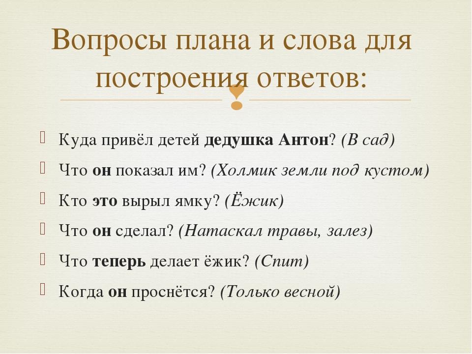 Куда привёл детей дедушка Антон? (В сад) Что он показал им? (Холмик земли под...