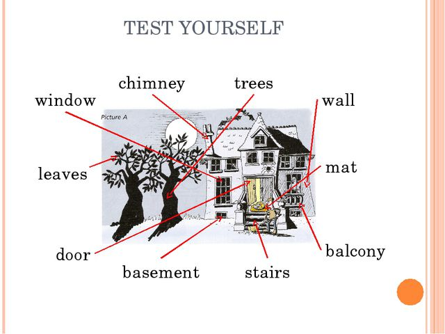 TEST YOURSELF door leaves trees wall chimney window basement balcony stairs mat