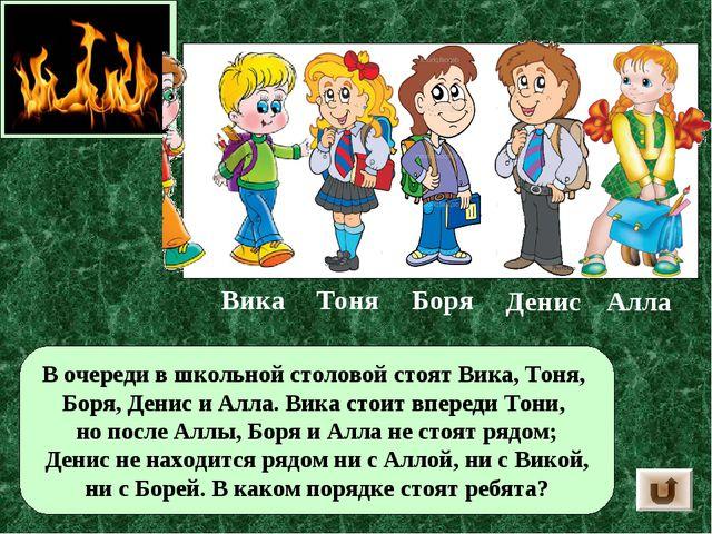 В очереди в школьной столовой стоят Вика, Тоня, Боря, Денис и Алла. Вика стои...