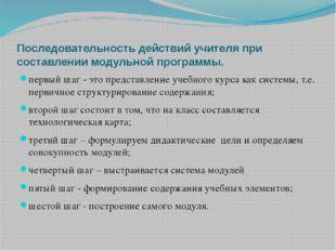 Последовательность действий учителя при составлении модульной программы. перв