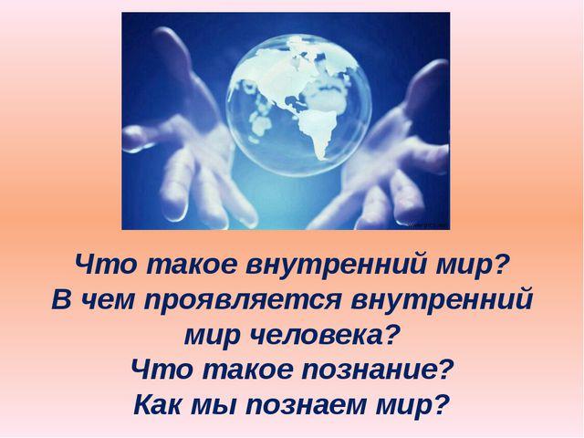 Что такое внутренний мир? В чем проявляется внутренний мир человека? Что тако...