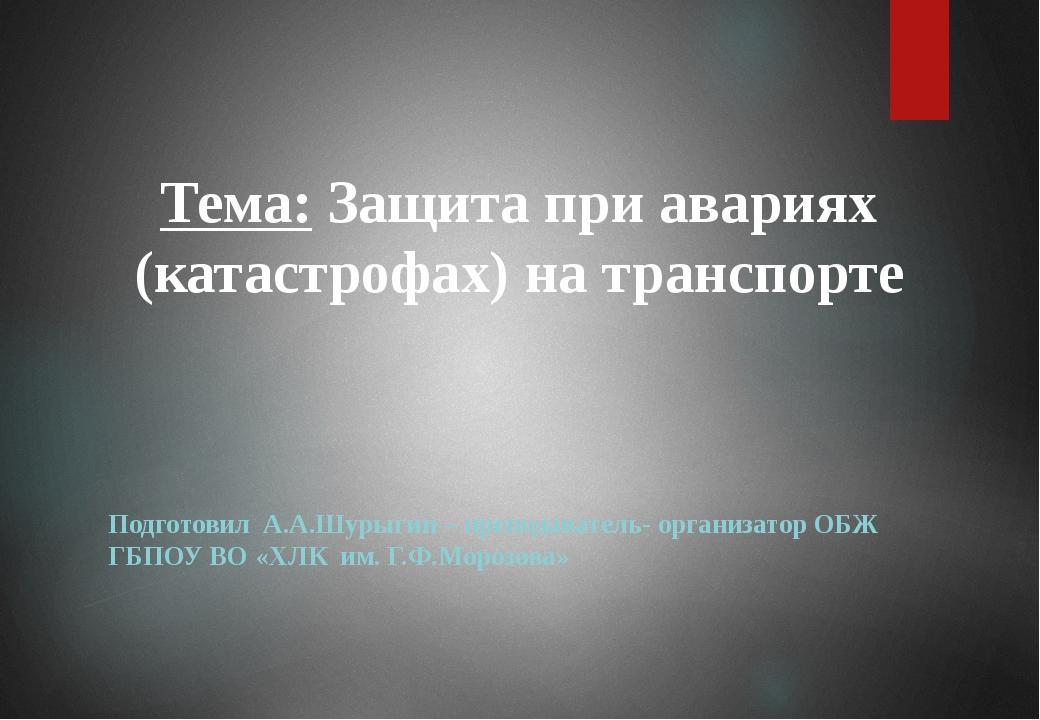 Подготовил А.А.Шурыгин – преподаватель- организатор ОБЖ ГБПОУ ВО «ХЛК им. Г....