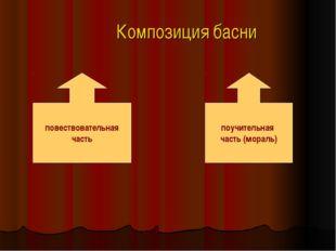 Композиция басни повествовательная часть поучительная часть (мораль)