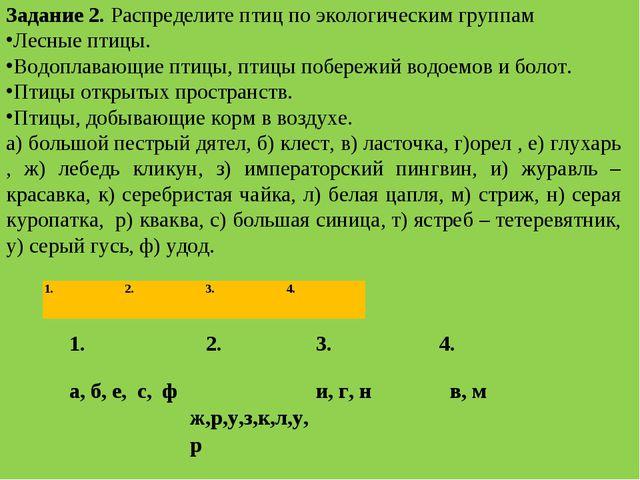 Задание 2.Распределите птиц по экологическим группам Лесные птицы. Водоплава...